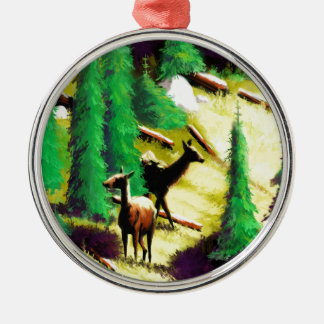 Two Elk In The Sunlight Silver-Colored Round Decoration