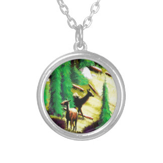 Two Elk In The Sunlight Silver Plated Necklace