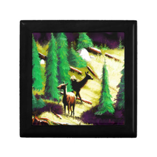 Two Elk In The Sunlight Small Square Gift Box