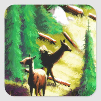 Two Elk In The Sunlight Square Sticker