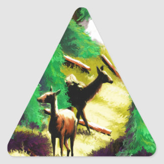 Two Elk In The Sunlight Triangle Sticker