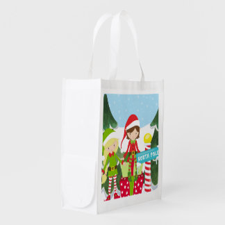 Two Elves at the North Pole Reusable Grocery Bag