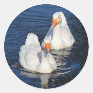 Two Emden Geese II Round Sticker