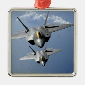 Two F-22 Raptors fly over the Pacific Ocean Metal Ornament