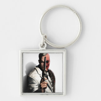 Two-Face 2 Silver-Colored Square Key Ring