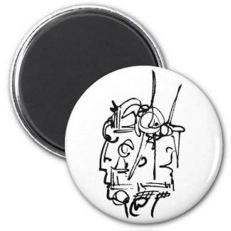 two face gemini 6 cm round magnet
