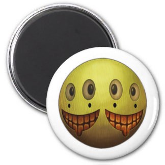 Two Face Grin 6 Cm Round Magnet