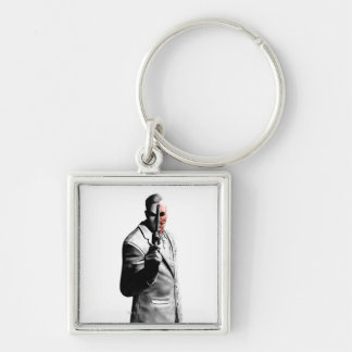 Two-Face Silver-Colored Square Key Ring