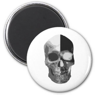 Two faced inverted skull 6 cm round magnet