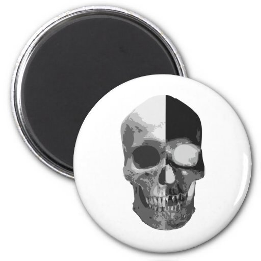 Two faced inverted skull refrigerator magnet