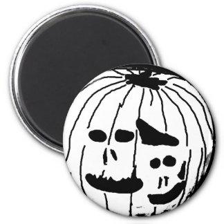 Two Faced Pumpkin 6 Cm Round Magnet