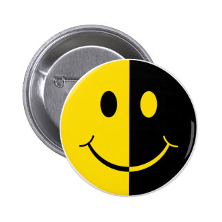 Two Faced Smiley Face Pinback Buttons