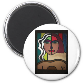 Two Faced Two 6 Cm Round Magnet