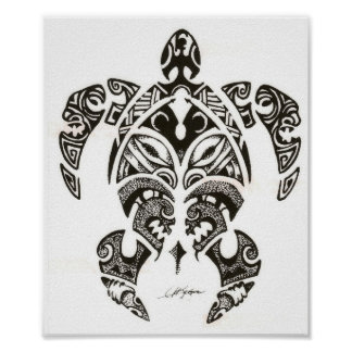 two faces (honu)turtle poster