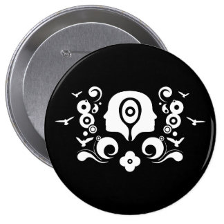 Two faces illustration 10 cm round badge