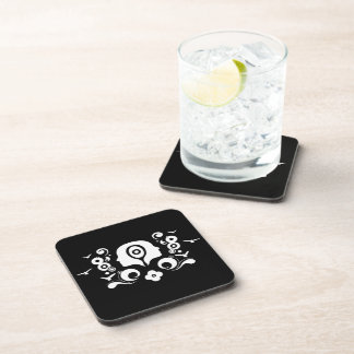 Two faces illustration drink coaster