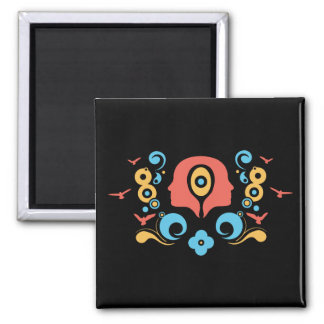 Two faces illustration square magnet