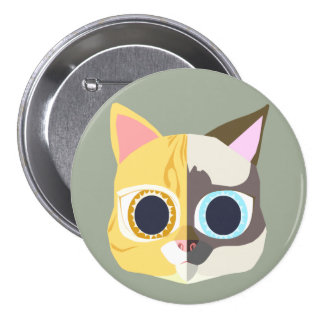 two faces of a cat button