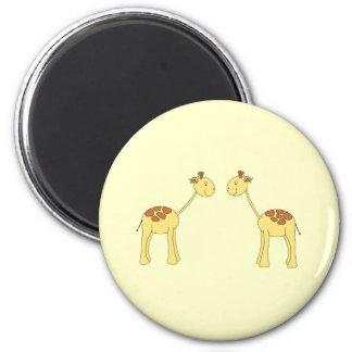 Two Facing Giraffes. Cartoon 6 Cm Round Magnet