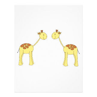 Two Facing Giraffes. Cartoon Flyer Design