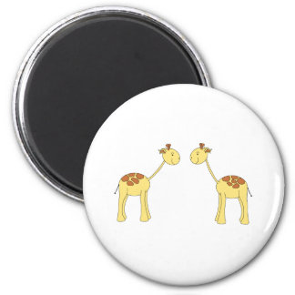 Two Facing Giraffes. Cartoon Fridge Magnet