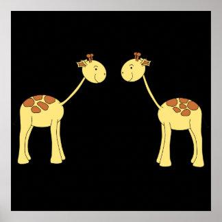 Two Facing Giraffes. Cartoon Print