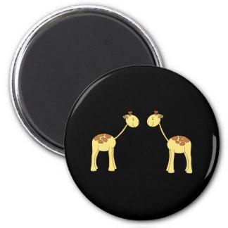 Two Facing Giraffes Cartoon Refrigerator Magnet