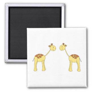 Two Facing Giraffes. Cartoon Square Magnet
