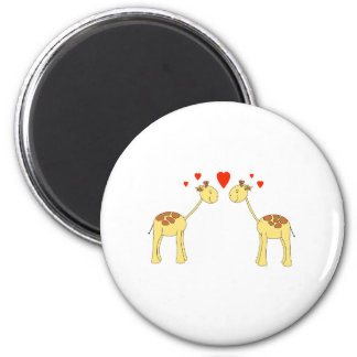 Two Facing Giraffes with Hearts. Cartoon. 6 Cm Round Magnet