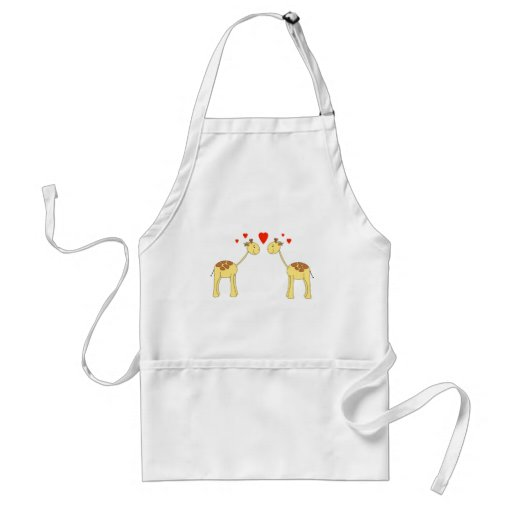 Two Facing Giraffes with Hearts. Cartoon. Aprons