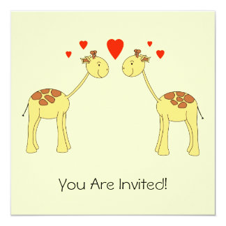 Two Facing Giraffes with Hearts. Cartoon. Card