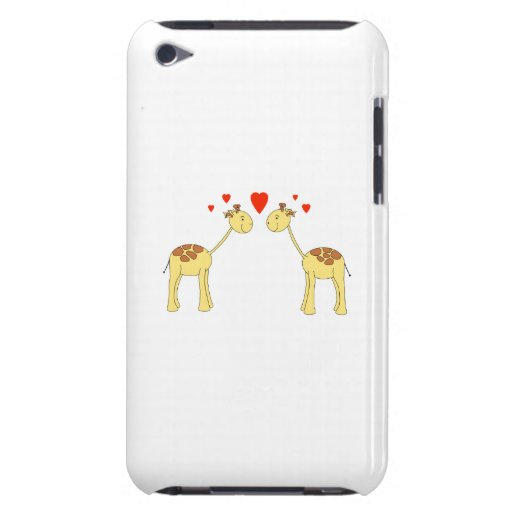 Two Facing Giraffes with Hearts. Cartoon. Barely There iPod Covers