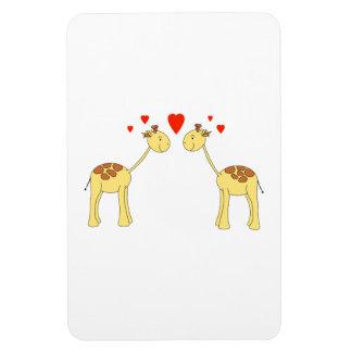 Two Facing Giraffes with Hearts. Cartoon. Rectangular Photo Magnet