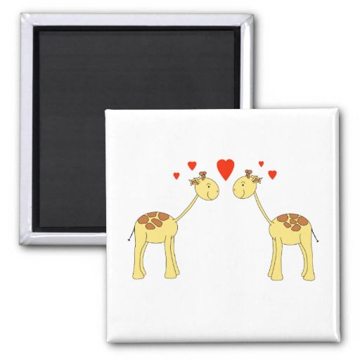 Two Facing Giraffes with Hearts. Cartoon. Refrigerator Magnets