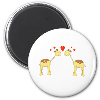 Two Facing Giraffes with Hearts. Cartoon. Refrigerator Magnet