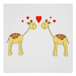 Two Facing Giraffes with Hearts Cartoon Posters