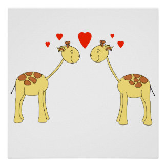Two Facing Giraffes with Hearts. Cartoon. Posters