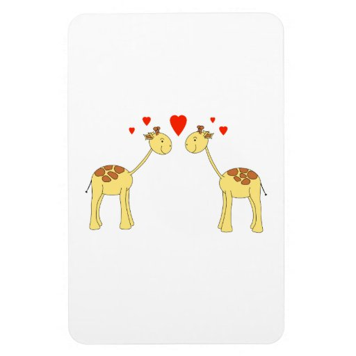Two Facing Giraffes with Hearts. Cartoon. Flexible Magnets
