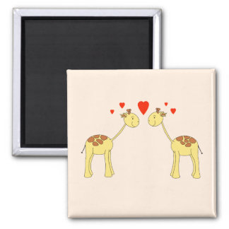 Two Facing Giraffes with Hearts. Cartoon. Square Magnet