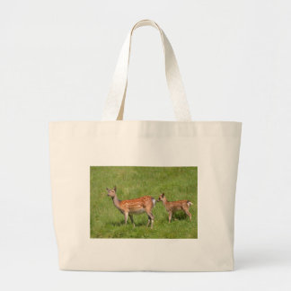 Two fallow deer in grass large tote bag