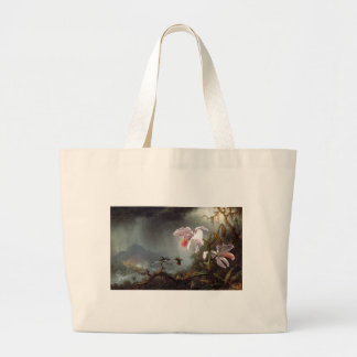 Two Fighting Hummingbirds with Two Orchids by Mart Jumbo Tote Bag