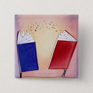 Two figures holding books above heads; symbols 15 cm square badge