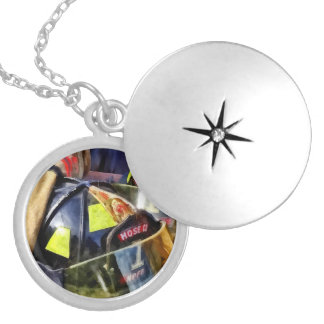 Two Fire Helmets And Fireman's Jacket Locket Necklace