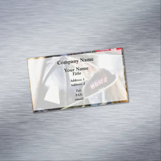 Two Fire Helmets And Fireman's Jacket Magnetic Business Card