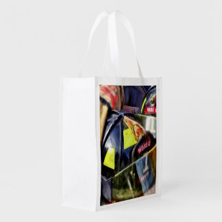 Two Fire Helmets And Fireman's Jacket Reusable Grocery Bag