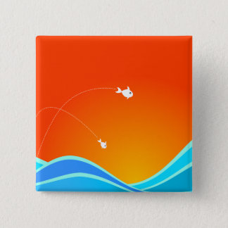 Two Fish Jumping In The Sea 15 Cm Square Badge