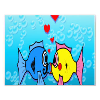 Two Fish Kissing, Underwater Scene Art Photo