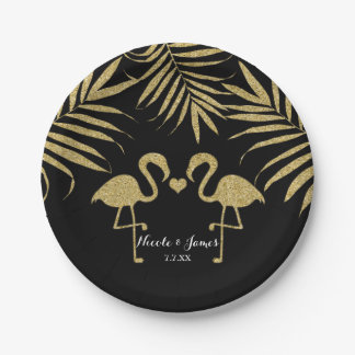 Two Flamingos Love Black & Gold Wedding Party 7 Inch Paper Plate