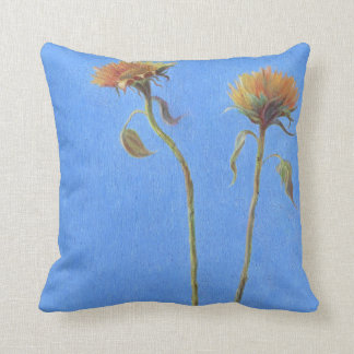 Two Flowers Sunflower oil painting blue Cushion