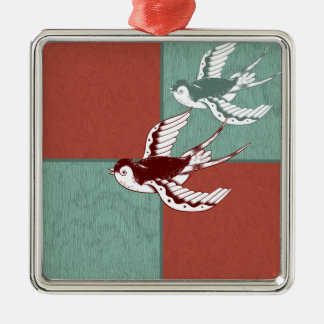 Two Flying Sparrows Birds Red Blue Color Blocks Metal Ornament